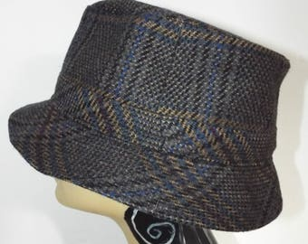 Vintage Men's Wool  Cap in Check design Blue Gold and Black  By LLOYD BALKE