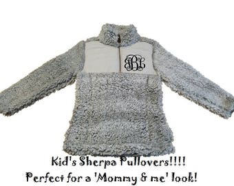 Youth Sherpa Pullover Mommy and Me Sherpa Sherpa Pullover Gray Sherpa youth Mommy and Me Jacket Mother Daughter Sherpa frosted Pullover