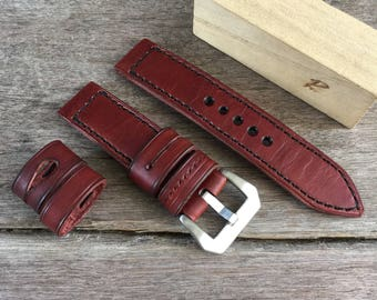 Genuine leather strap 22mm. In red-brown