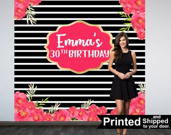 30th Birthday Personalized Photo Backdrop -Black and White Stripes Photo Backdrop- Birthday Photo Backdrop - Custom Photo Booth Backdrop