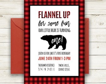 Flannel Party Invitation | Lumberjack Birthday Invitation | Buffalo Plaid | Rustic | Little Boy Birthday Party | Printable | Flannel Up