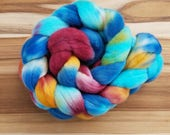 Hand Dyed Roving - Superfine Merino wool, fiber, spinning, weaving, felting, blue, aqua, mauve, gold, mustard,