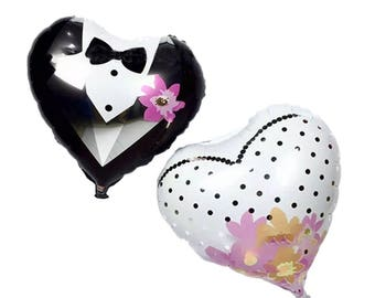 "Set no. 2 Heart Balloons ""Bride and Groom"""