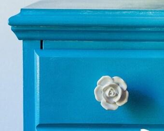 SUMMER SALE TWO sculpted porcelain white rose drawer knob / drawer pull