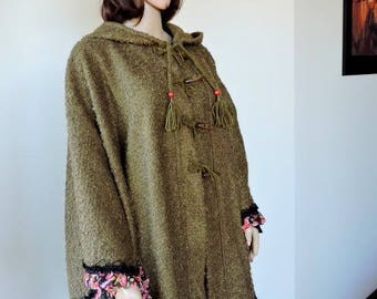 Terry and frilly print wool coat hooded poncho cape