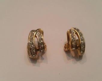 Vintage Monet Rhinestone Earrings Jewelry