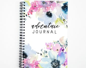 Adventure Bucket List Journal | Watercolor Floral | 40 Adventure Layouts | Travel Log | Vacation Notebook | 5.5X8.5 | Wire Bound | Lays Flat