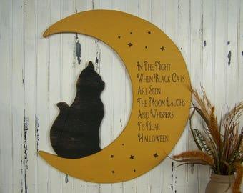 Cat Moon Halloween Home Decor Halloween Wooden Decor Halloween Decor Black Cat Sign Wooden Halloween Sign Halloween Decoration Wood Sign