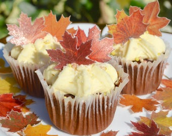 Edible Maple MINI Autumn Fall Leaves Red Wedding Cake Decorations Birthday Cupcake Toppers Thanksgiving Cookies Favours Orange Yellow