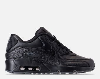Swarovski Girls / Womens Black Nike Air Max 90 SE Leather Shoes Blinged with SWAROVSKI® Crystals