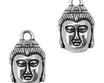 "Boho Metal Pendant ""Buddha""-3 pieces-Antique silver"
