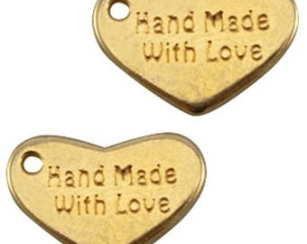 "DQ Metal pendant ""hand Made With Love"", Heart Pendant-3 pcs.-Zamak-10x15mm (colour: Gold)"