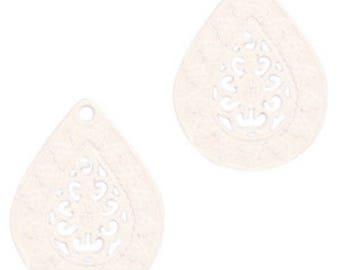 Bohemian Pendant-4 pcs.-20 x 15 mm-Drop shape-color selectable (color: beige)