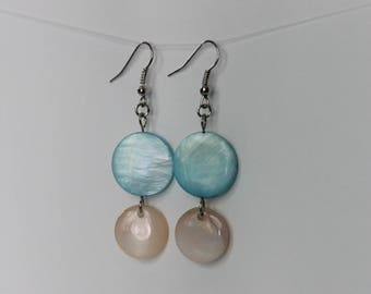 Turquoise and Pink Round Flat Shell Earrings