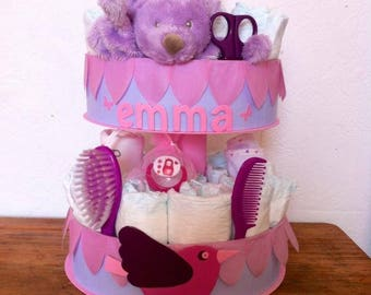 """My love bird"" diaper cake"