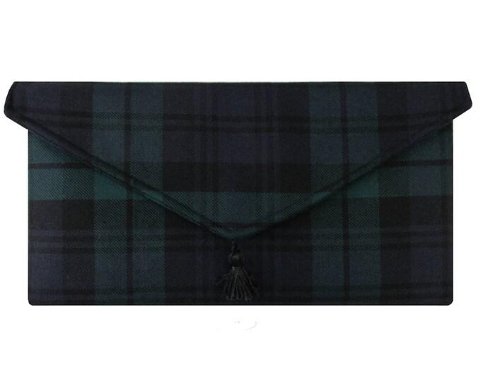 Black Watch Pure Wool Tartan Envelope Clutch Bag