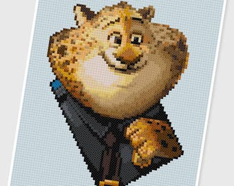 PDF Cross Stitch pattern - 0061.Clawhauser ( Zootopia ) - INSTANT DOWNLOAD