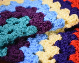 Primary Color Crochet Cat Mat -- Granny Square Pet Blanket in Bright Primary Colors