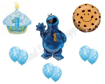 COOKIE MONSTER 1st First Happy Birthday party balloons, decorations, supplies Cupcake