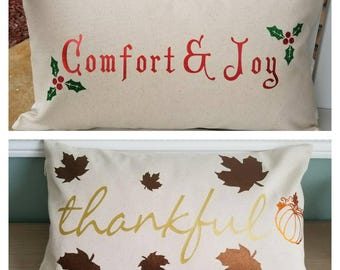 Fall Decorative Pillow, Christmas Pillow, Reversible Holiday Pillow, Throw Pillow, Couch Pillow, Decorative Pillow Cover, Christmas Decor