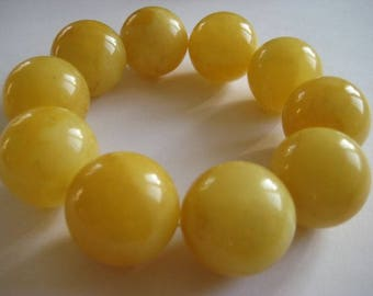 big rare Baltic Butterscotch Amber bracelet round beads 19mm 66g handmade 老琥珀