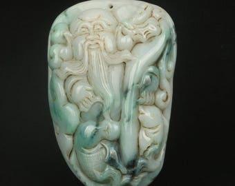 Chinese  Jade hand carved lucky Pendant longevity - 21th Century