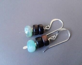 Ebony, Peruvian opal earrings and sterling silver