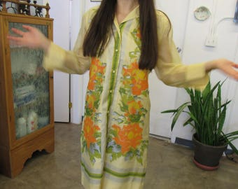 Vintage Alfred Shaheen Printed Dress Size 16