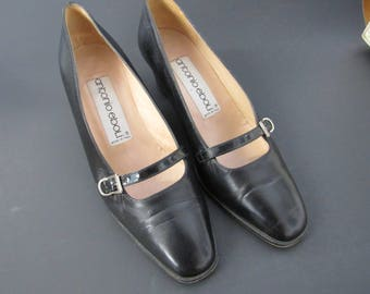Vintage Italian Black Leather Shoes Size 7