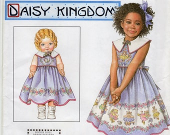 Simplicity 8677 Daisy Kingdom Girls Dress Pattern Sizes 3-4-5-6 and Doll Dress Pattern