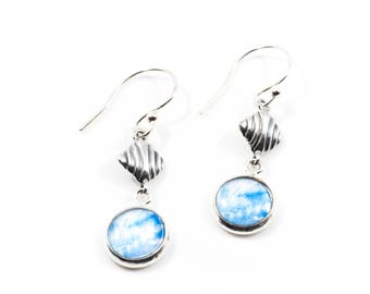 Blue & Silver Earrings, Photo Jewelry, Gifts under 20, Gift for Her, Artistic Earrings, Bridal Jewelry, Bridesmaid Gift