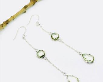 Green amethyst earring set in sterling silver 925. Natural authentic green amethyst stones. Perfectly matched. Length- 2.50 inch