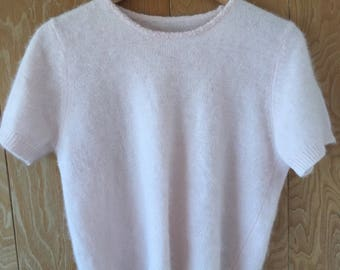 Pale pink knit angora sweater tee with beaded neckline