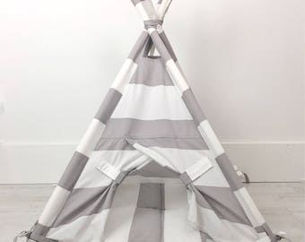 Pet Teepee Tent in Gray/Grey and White Cotton Fabric