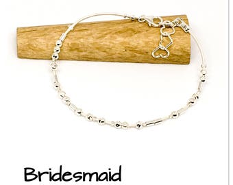 Bridesmaid bracelet - sterling silver and leather bracelet - Morse code bracelet - weding jewellery - bridesmaid gift - hidden message