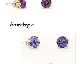 Swarovski stud earrings - Purple earrings - 6mm stones - everyday earrings- dainty earrings - sterling silver - choice of colours