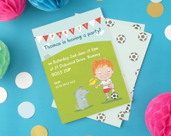 Personalised Boy's Football Party Invitations (choose the hair colour) -- Minimum order 8