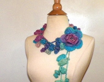 On Sale- Summer Scarf Leaf Flower Necklace Blue Purple Pink Rose With Leaves Rainbow Flower Brooch Extra Long Skinny Scarf OOAK
