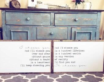 Id Choose You | Set Of 2 | Farmhouse Sign | Farmhouse Decor | Rustic Decor | Rustic Sign | Modern Farmhouse | Anniversary Gift |Wedding Gift