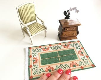 Miniature hand embroidered carpet, 1/12 scale, Jugend