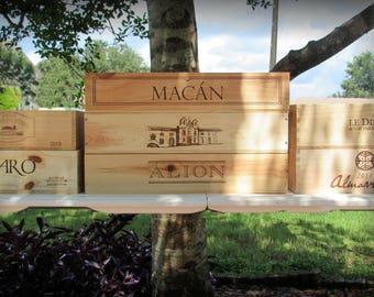 Wine Crates, Spain, Argentina, Chile, France, Unique Wood Crates, Wedding Decor, Gift Card Box, Storage Crates, Home Wine Decor, Crafts