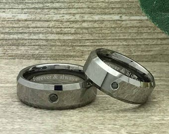8mm His and Hers Tungsten Wedding Rings, 0.05ct Black Diamond Wedding Band,Couples Tungsten Ring, Personalized Engrave Tungsten Ring-TCR361