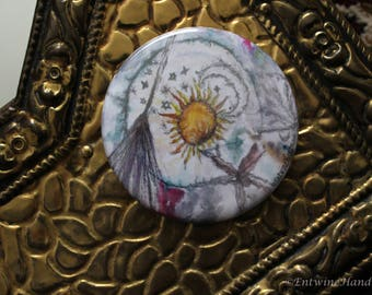 Witches Compact Pocket Mirror with Velvet Bag Original Artwork
