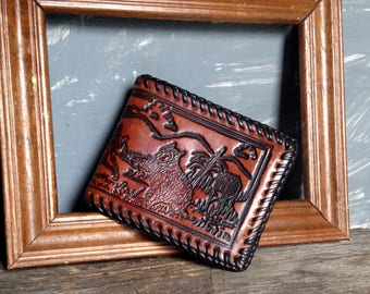 Vintage Leather Hand Tooled Wallet, Embossed Leather Wallet with Leather Lining