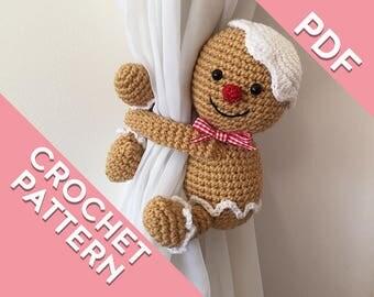 Gingerbread man curtain tie back  crochet PATTERN, left or right side PDF instant download PATTERN amigurumi tieback