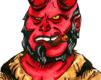 Hellboy inspired Art Print