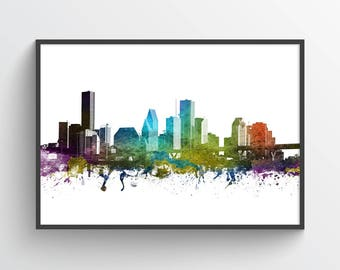 Houston Poster, Houston Skyline, Houston Cityscape, Houston Print, Houston Art, Houston Decor, Home Decor, Gift Idea, USTXHO01P