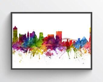 Memphis Skyline Poster, Memphis Cityscape, Memphis Art, Memphis Print, Memphis Decor, Home Decor, Gift Idea, USTNME06P