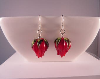 Handmade Lampwork red flower bud earrings,Sterling Silver earrings