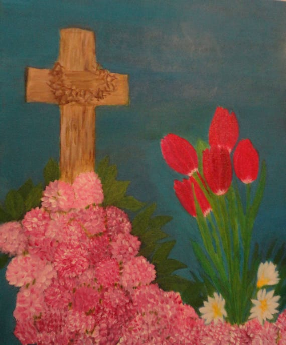 Cross with Heart-Shaped Crown of Thorns with Tulips and Hydrangea Acrylic Painting on Wrapped Canvas  by Rosie Barnett Foshee